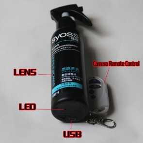 Hair Spray Gel Bottle Bathroom Spy 1080P HD Hidden Waterproof pinhole Spy Camera DVR 32GB