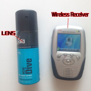 Wireless Hidden Camera for Bath Body Spray Bottle Spy Camera-2.4GHz with Portable Receiver-100mw High Power Transmitter